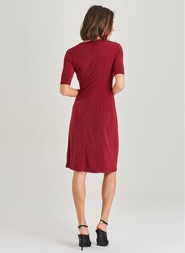 People By Fabrika Büzgü Detaylı Elbise Bordo